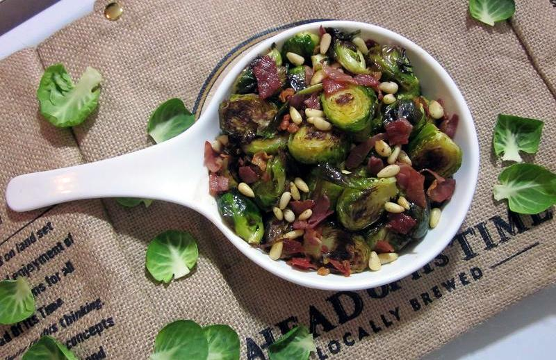 Roasted Brussel Sprouts with Prosciutto and Pine Nuts