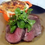 Roasted Venison with Potato-Watercress Gratin