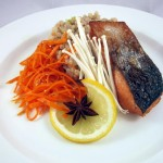 """Syunkon"" Salmon with Mushroom Orzotto and Carrot Salad"