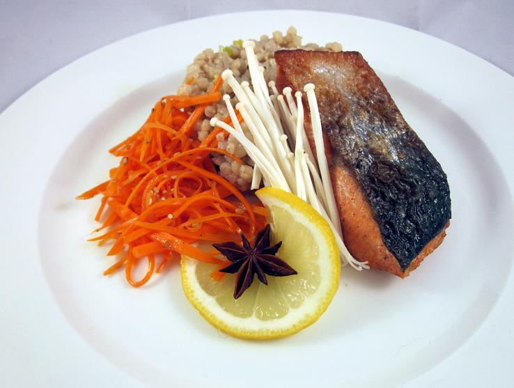 Syunkon Salmon with Mushroom Orzotto and Carrot Salad