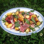 Grilled Peaches with Prosciutto and Bitter Greens