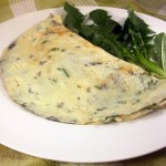 Dandelion Omelette with Spring Herbs and Smoked Asiago