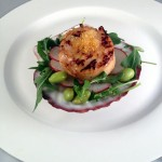 Miso-Marinated Scallops with Kiwi-Yuzu Salad