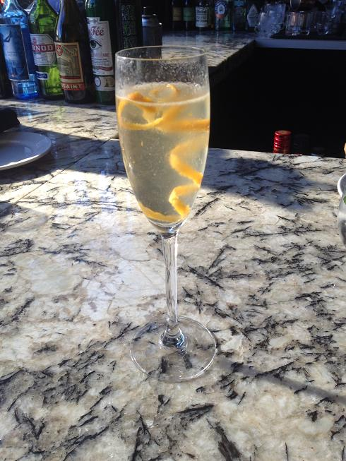 Vodka, Sparkling Wine and lemon.